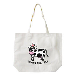 Loving Moother Cow Unique Canvas Bag Cute Grocery Bag Gift For Mom