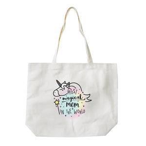 Magical Mom Unicorn Mother's Day Gift Canvas Tote Bag For Grocery