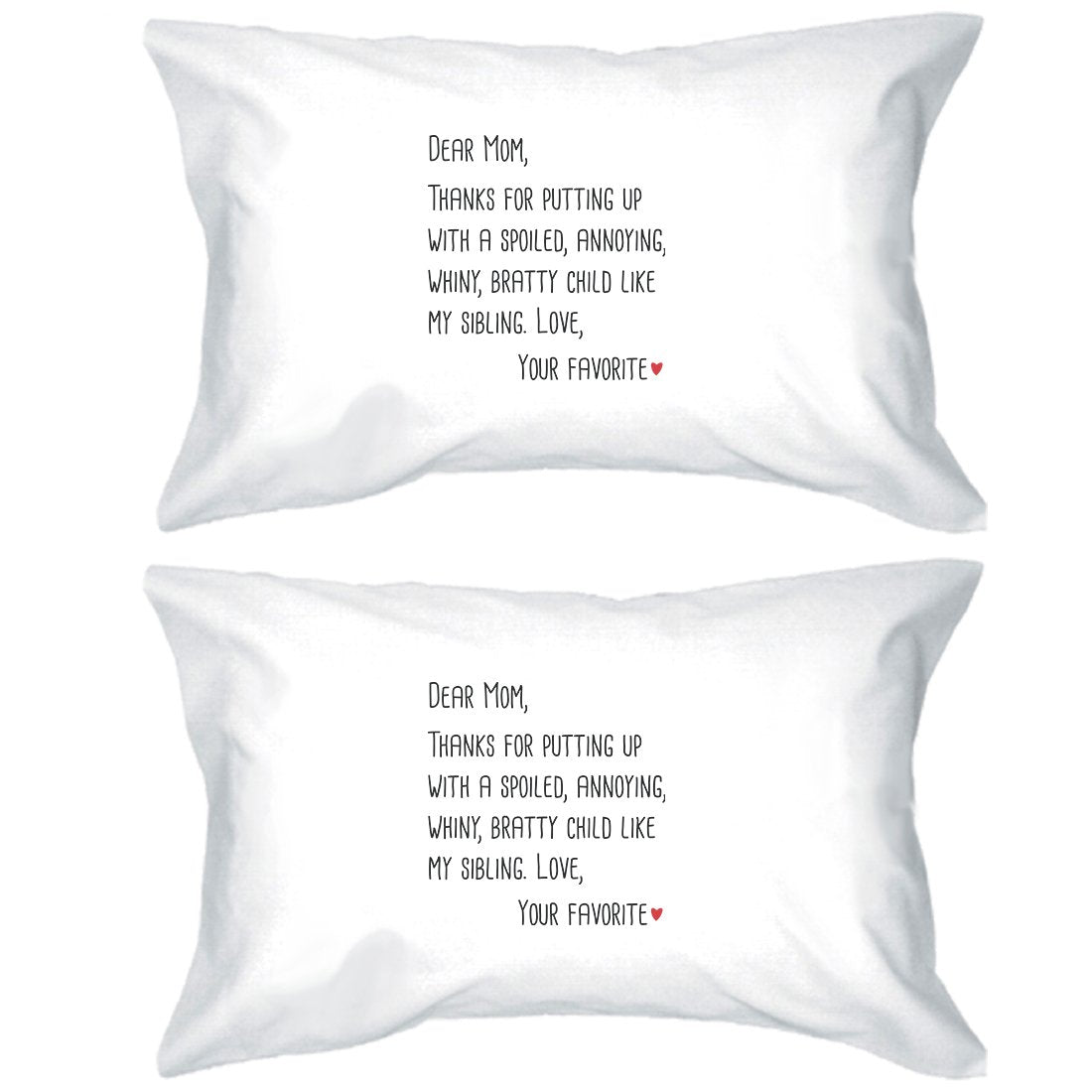Dear Mom Graphic Pillowcases Standard Size Cotton Pillow Covers