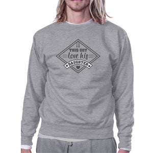 This Guy Love His Daughter Grey Sweatshirt New Baby Girl Dad Gifts