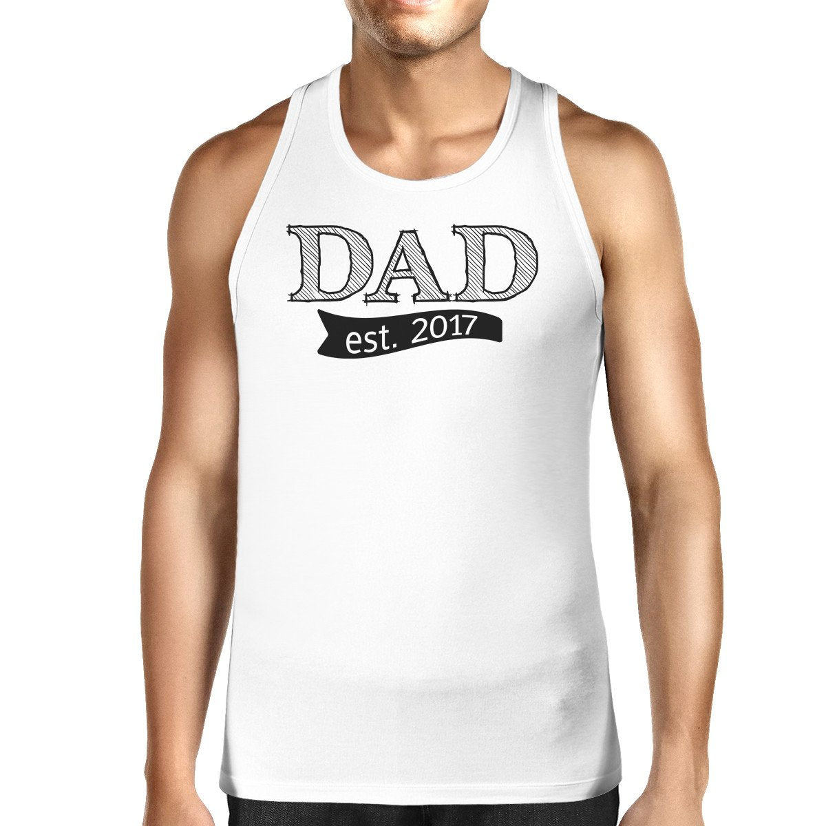 Dad Est 2017 Mens White Sleeveless Top Funny Fathers Day Tank Top
