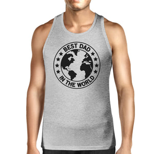 World Best Dad Mens Grey Sleeveless Tee Unique Design Graphic Tanks