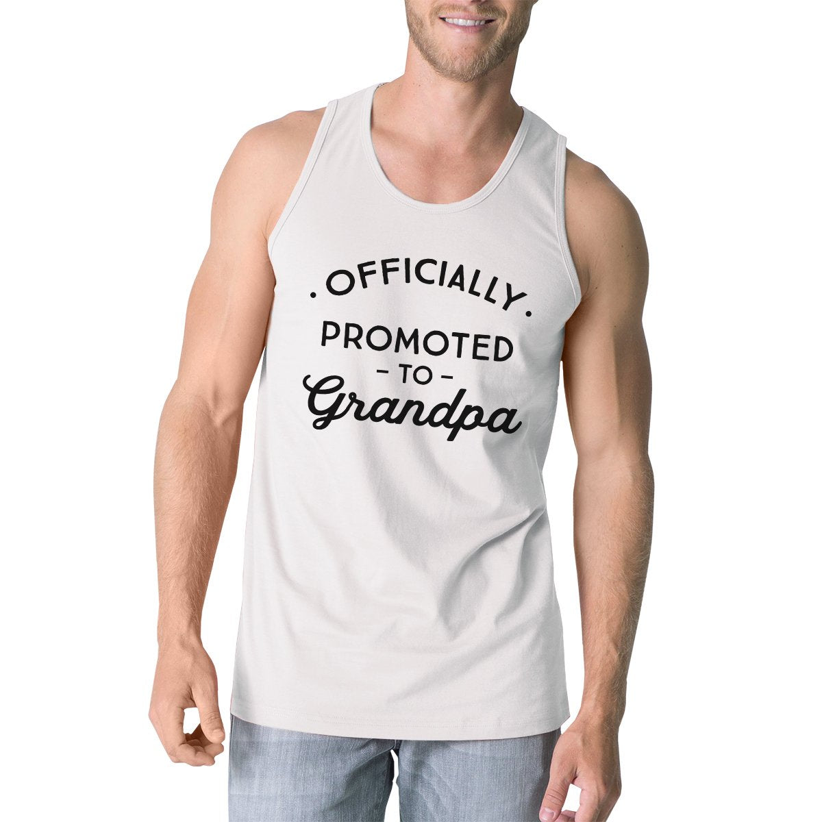 Officially Promoted To Grandpa Mens White Tank Top