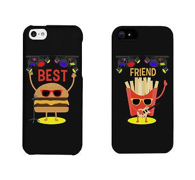 Hamburger And Fries Rock Stars Cute BFF Matching Phone Cases Gift