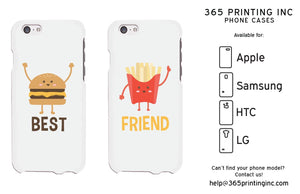 Hambuger And Fries White Cute BFF Matching Phone Cases For Best Friends