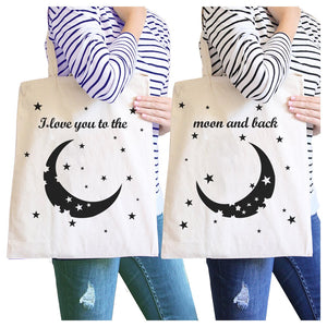 Moon And Back BFF Matching Canvas Bags Foldable Washable Reusable