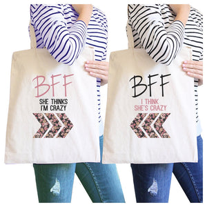BFF Floral Crazy BFF Matching Canvas Bags Funny Birthday Gifts