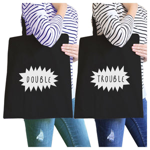 Double Trouble BFF Matching Black Canvas Bags