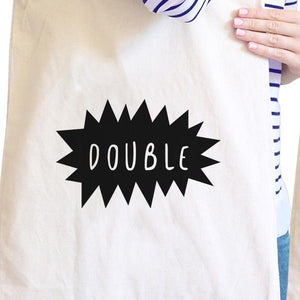 Double Trouble BFF Matching Natural Canvas Bags