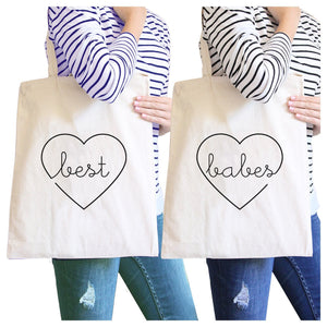 Best Babes BFF Matching Natural Canvas Bags