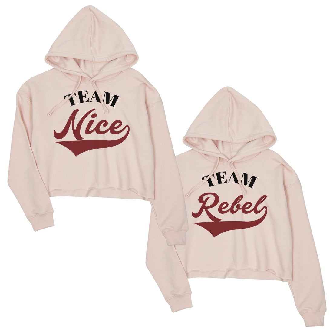 Team Nice Team Rebel BFF Matching Crop Hoodies For Christmas Gift