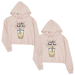 Boba Milk Best-Tea BFF Matching Crop Hoodies Funny Christmas Gift