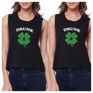 Drunk1 Drunk2 Womens Black Crop Top BFF Marching Shirts St Patricks