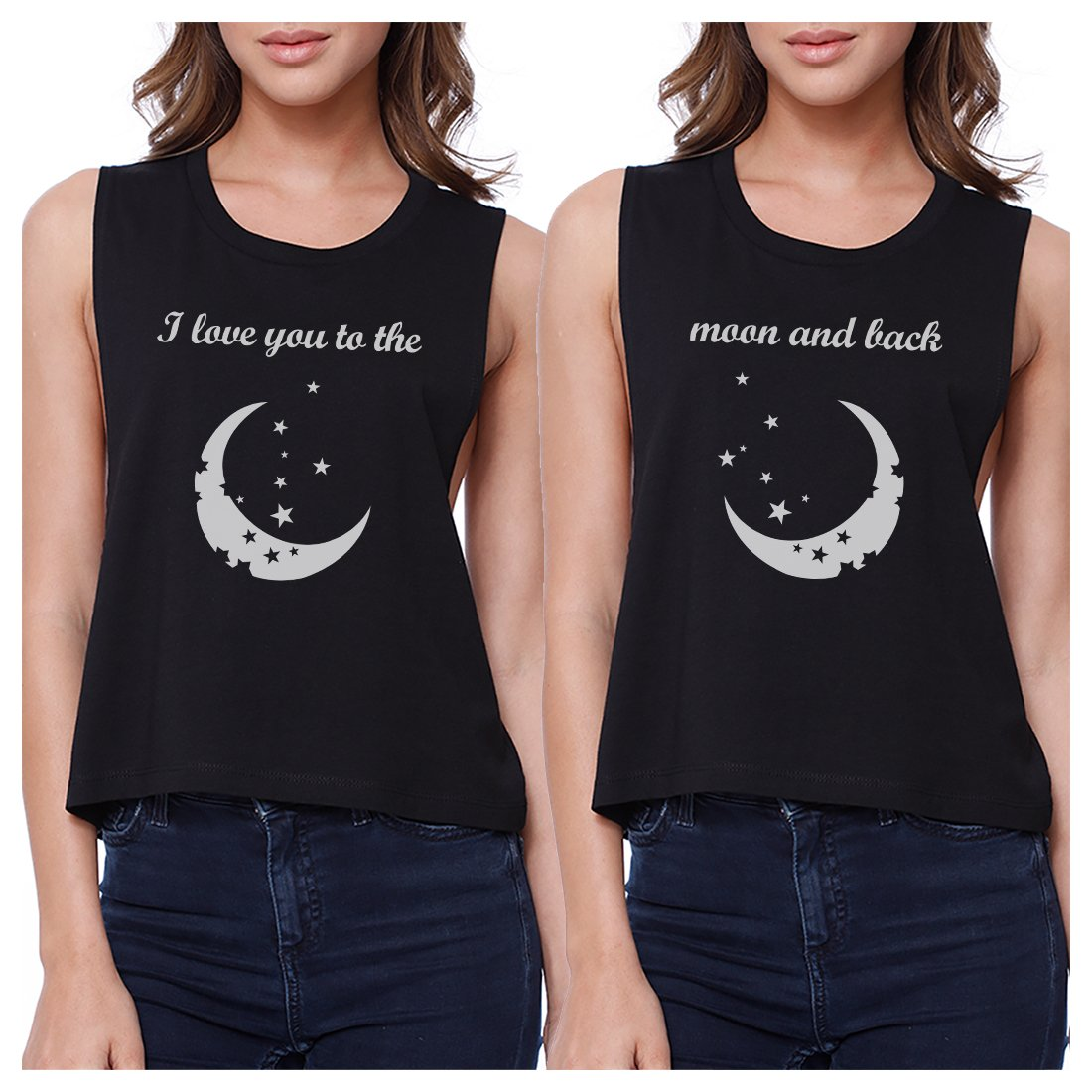 Moon And Back BFF Matching Crop Top Womens Sleeveless Tee