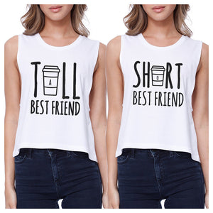 Tall Short Cup BFF Matching Crop Top Womens Graphic Cropped Shirts