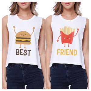 Hamburger And Fries BFF Matching Crop Top Womens Graphic Tanks