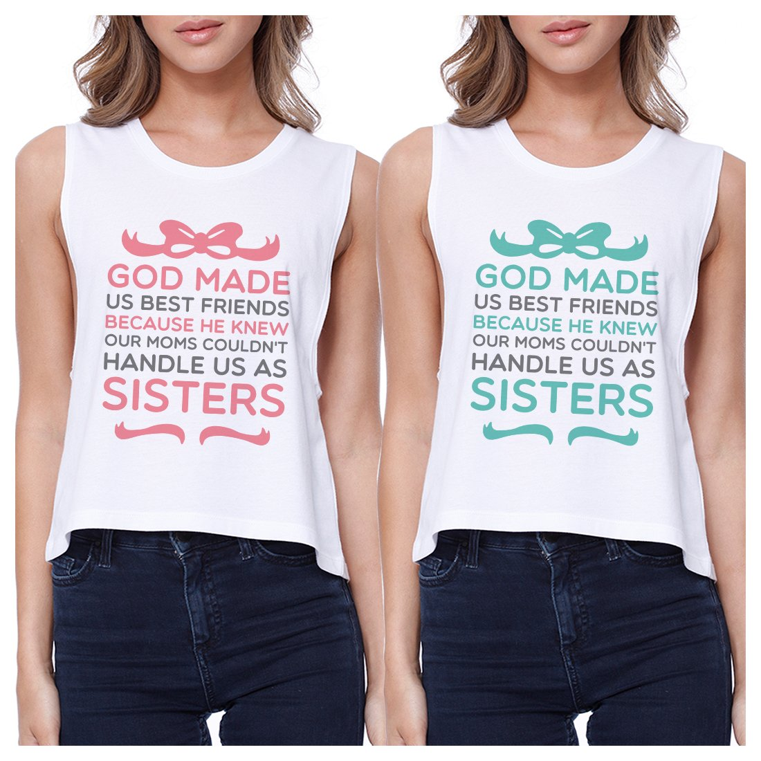 God Made Us BFF Matching Crop Top Womens Funny Best Friend Gifts
