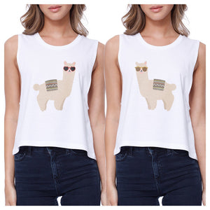 Llamas With Sunglasses BFF Matching White Crop Tops