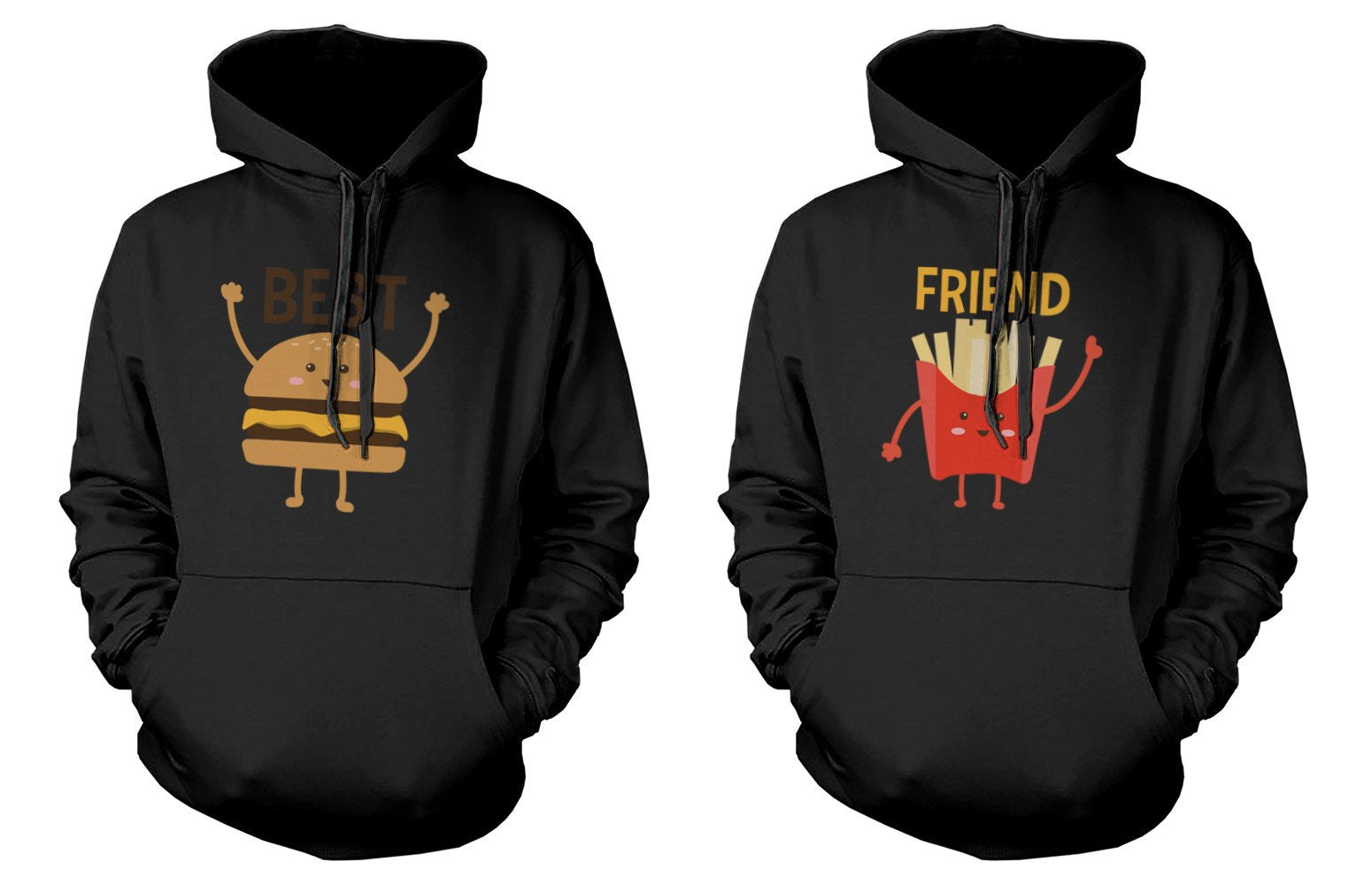 Burger and Fries BFF Hoodies Best Friend Matching Hooded Sweatshirts