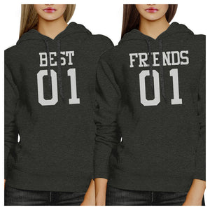 Best01 Friends01 BFF Matching Dark Grey Hoodies