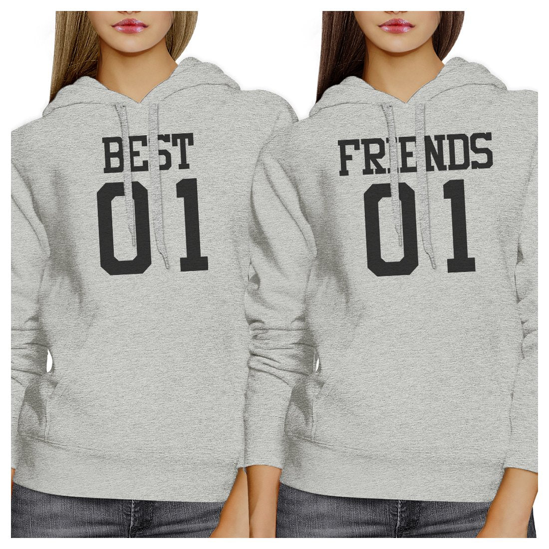 Best01 Friends01 BFF Matching Grey Hoodies