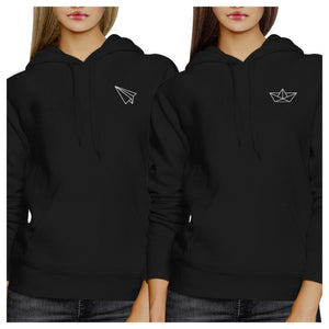 Origami Plane And Boat BFF Matching Black Hoodies
