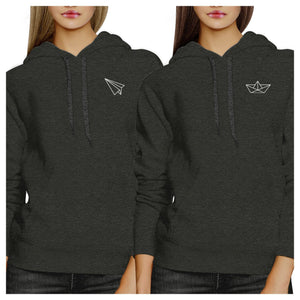 Origami Plane And Boat BFF Matching Dark Grey Hoodies