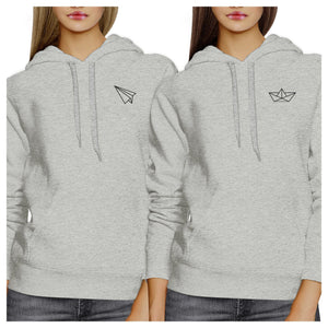 Origami Plane And Boat BFF Matching Grey Hoodies