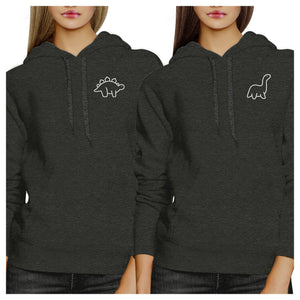 Dinosaurs BFF Matching Dark Grey Hoodies
