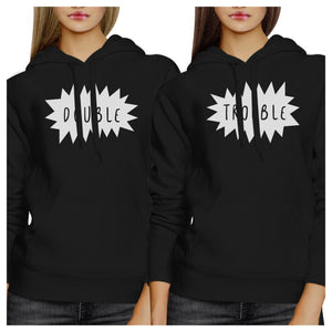 Double Trouble BFF Matching Black Hoodies