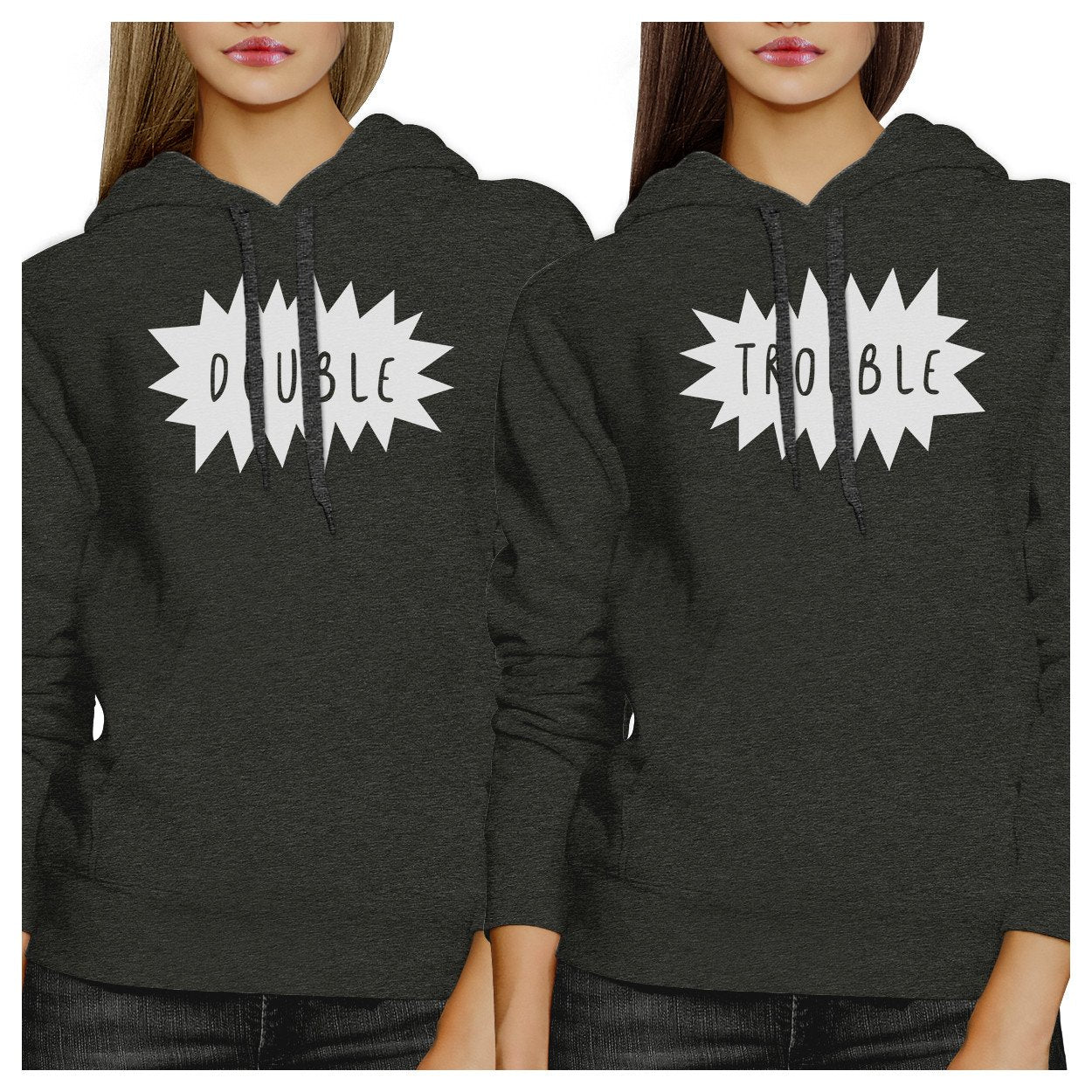 Double Trouble BFF Matching Dark Grey Hoodies