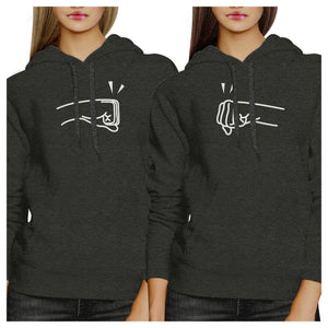 Fists Pound BFF Matching Dark Grey Hoodies