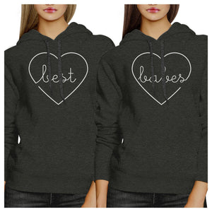 Best Babes BFF Matching Dark Grey Hoodies