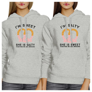 Sweet And Salty BFF Matching Grey Hoodies