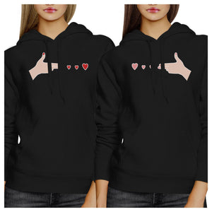 Gun Hands With Hearts BFF Matching Black Hoodies