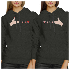 Gun Hands With Hearts BFF Matching Dark Grey Hoodies