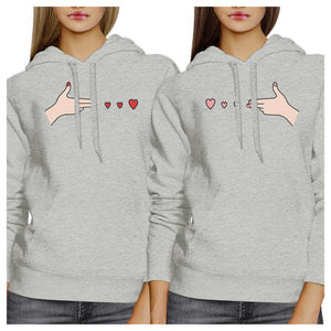 Gun Hands With Hearts BFF Matching Grey Hoodies
