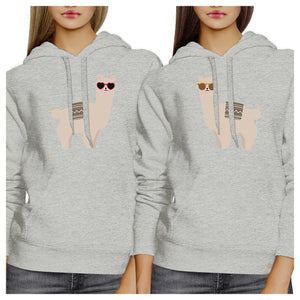 Llamas With Sunglasses BFF Matching Grey Hoodies