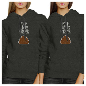 Poop Buddies BFF Matching Dark Grey Hoodies