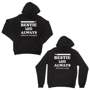 Bestie Always Matching Hoodies Black Pullover Hooded Sweatshirts