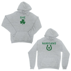 Shenanigans BFF Matching Hoodies Grey Funny St Patrick's Day Outfit