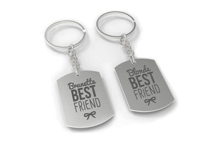 Brunette And Blonde Funny Matching BFF Key Chain for Best Friends