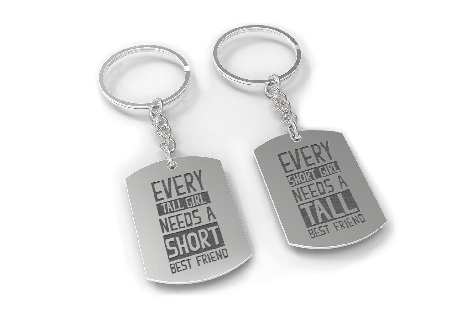 Short Tall Funny Matching BFF Key Chain for Best Friends Great Gift