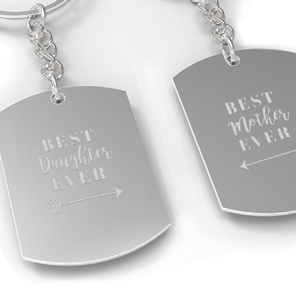 Best Daughter & Mother Ever Couple Kaychain Mom Gift From Daughters