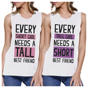 Tall Short Friend BFF Matching Tank Tops Womens Cute Graphic Tanks