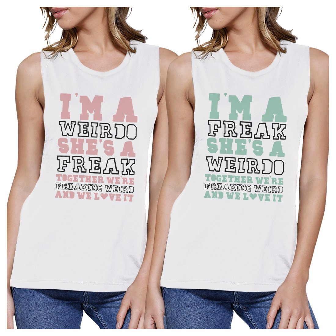 Weirdo Freak BFF Matching Tank Tops Womens Funny Graphic Tanks Gift