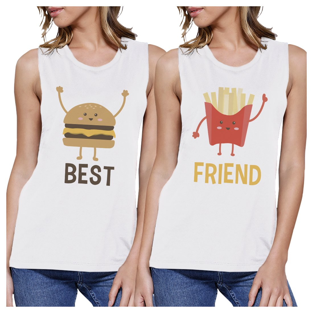 Hamburger And Fries BFF Matching Tank Tops Womens Cute Graphic Tank