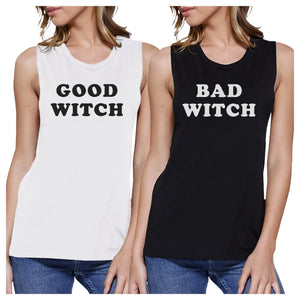 Good Witch Bad Witch BFF Matching White and Black Muscle Tops