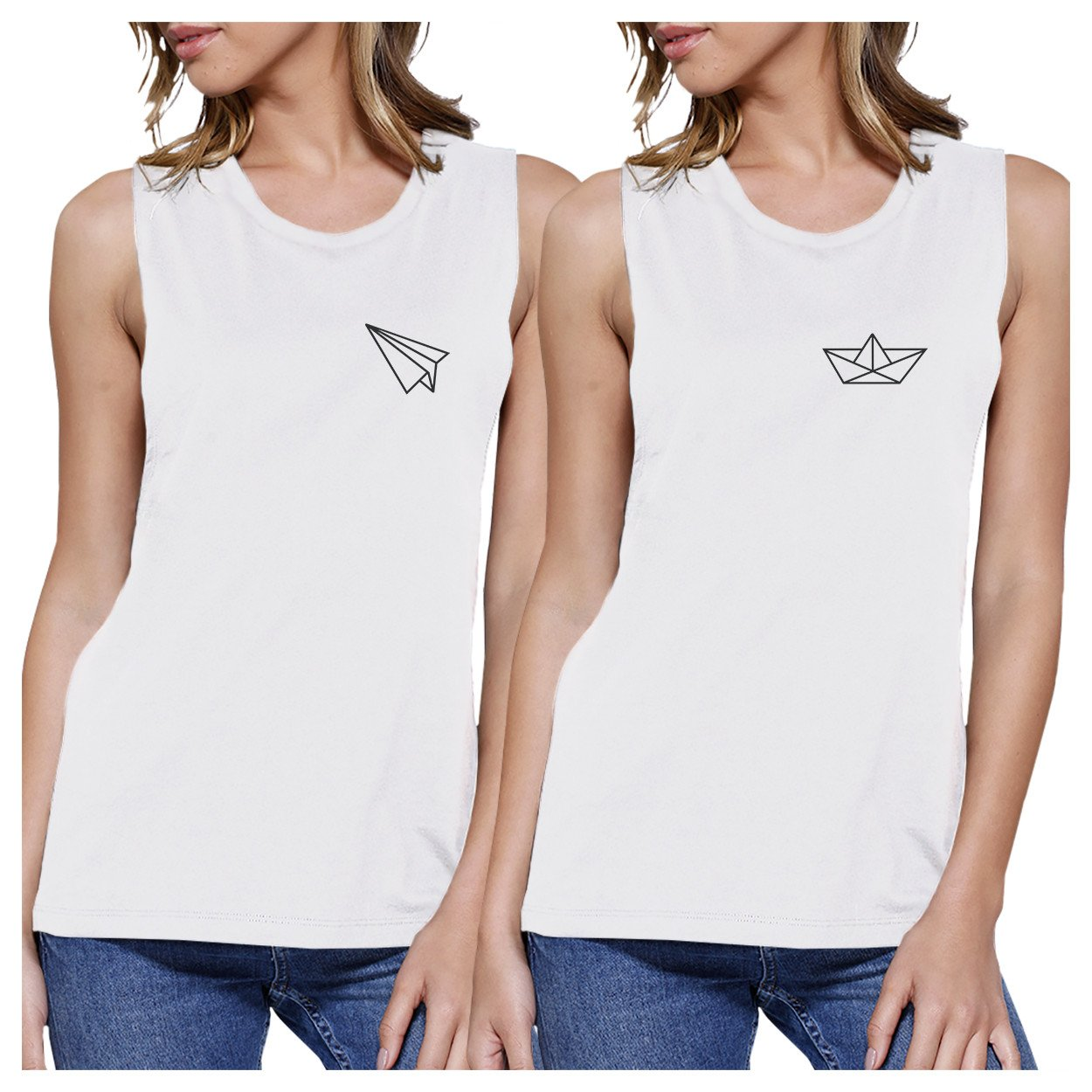 Origami Plane And Boat BFF Matching White Muscle Tops
