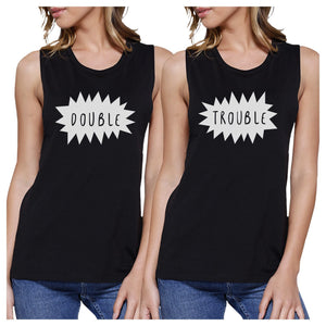 Double Trouble BFF Matching Black Muscle Tops